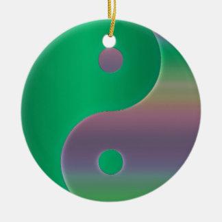 Multicultural Green Yin-Yang Holiday Ornament