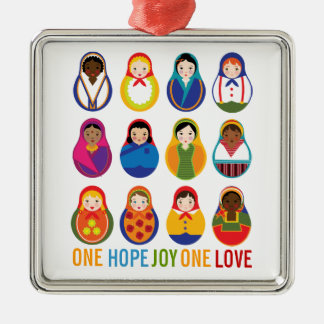 Multicultural Nesting Dolls One Love World Peace Christmas Ornament