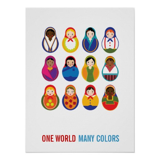 Multicultural Nesting Dolls One World Many Colors Poster