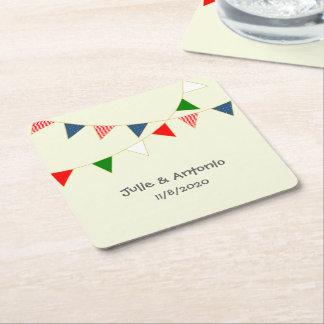 Multicultural Wedding Mexico Bunting Favor Coaster Square Paper Coaster