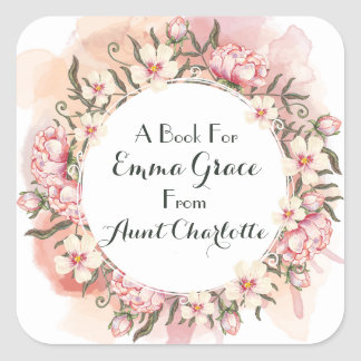 Multifloral Pink Peony Wreath Gift Bookplate Square Sticker