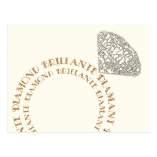 Multilingual Diamond Ring Typography Postcard