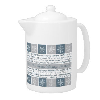 Multilingual Happy Holidays teapot