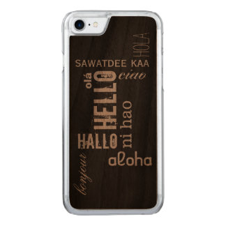 "Multilingual ""Hello"" Wood Carved iPhone 8/7 Case"