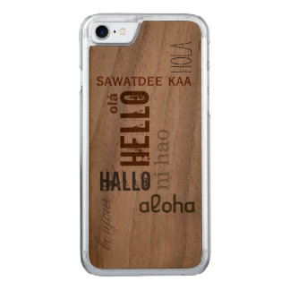 "Multilingual ""Hello"" Wood Case- Earthtone Carved iPhone 8/7 Case"