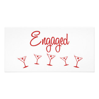 MultiMartini-Engaged-Red Customized Photo Card