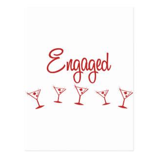 MultiMartini-Engaged-Red Postcard