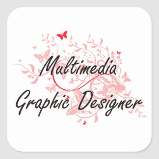 Multimedia Graphic Designer Artistic Job Design wi Square Sticker