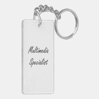Multimedia Specialist Artistic Job Design Double-Sided Rectangular Acrylic Key Ring