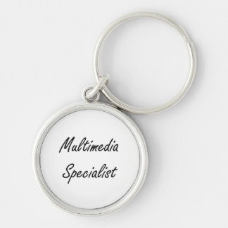 Multimedia Specialist Artistic Job Design Silver-Colored Round Keychain