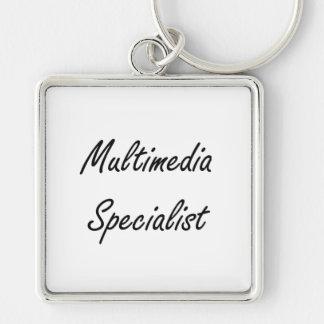 Multimedia Specialist Artistic Job Design Silver-Colored Square Key Ring