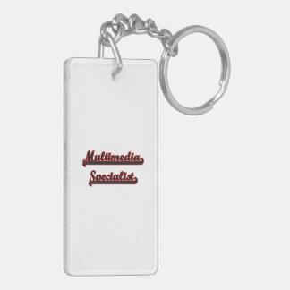 Multimedia Specialist Classic Job Design Double-Sided Rectangular Acrylic Key Ring