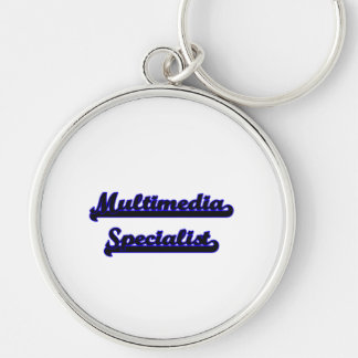 Multimedia Specialist Classic Job Design Silver-Colored Round Key Ring