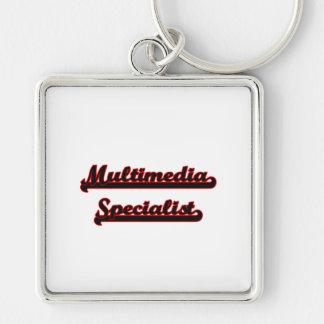 Multimedia Specialist Classic Job Design Silver-Colored Square Key Ring