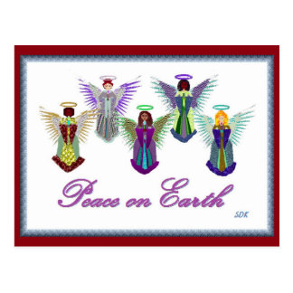 Multinational Christmas Tree Angels Postcard