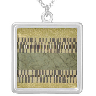 Multipatterned Panel Painting Silver Plated Necklace