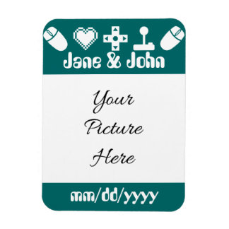 Multiplayer Mode in Teal Save-the-Date Magnet Magnet