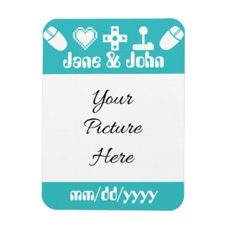 Multiplayer Mode in Turquoise Save-the-Date Magnet Magnets