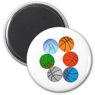 Multiple Basketballs 6 Cm Round Magnet