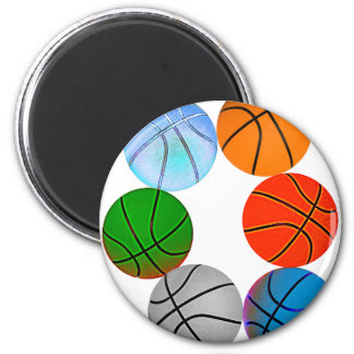 Multiple Basketballs 6 Cm Round Magnet