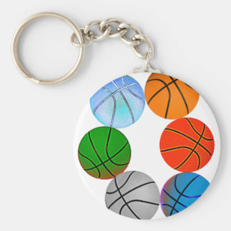 Multiple Basketballs In Different Cartoon Colors Basic Round Button Key Ring