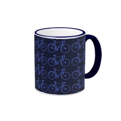 Multiple blue bikes coffee mugs
