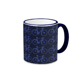 Multiple blue bikes ringer mug