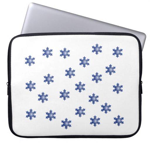 Multiple Blue Snowflake Starburst Laptop Sleeve