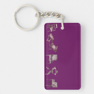 Multiple chairs in purple Single-Sided rectangular acrylic key ring