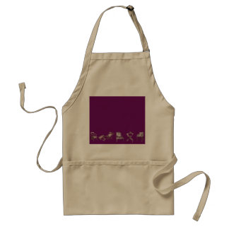 Multiple chairs in purple standard apron