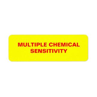 Multiple Chemical Sensitivity sticker Return Address Label