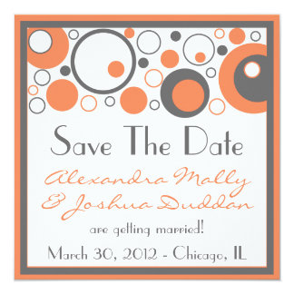 Multiple Circles Save The Date (Orange) Card