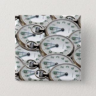 Multiple Clock Faces 15 Cm Square Badge