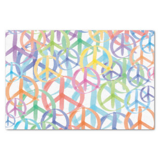 Multiple Colors of Peace Symbols Tissue Paper