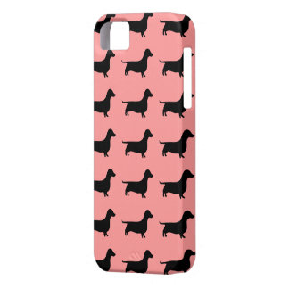 Multiple Dachshund Pattern on Rose background iPhone 5 Cases