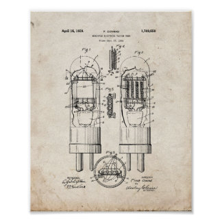 Multiple-electrode Vacuum Tube Patent - Old Look Poster