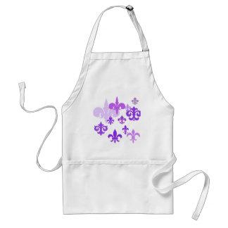Multiple Fleur de Lis in Purple Shades Aprons