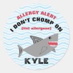 Multiple Food Allergy Alert Shark Stickers