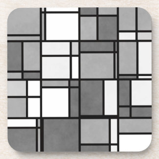 Multiple Gray White Mondrian Inspired Pattern Coaster