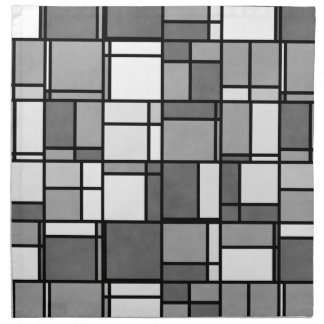 Multiple Gray White Mondrian Inspired Pattern Napkin