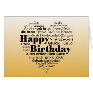 Multiple Language Birthday Wishing Greeting Card