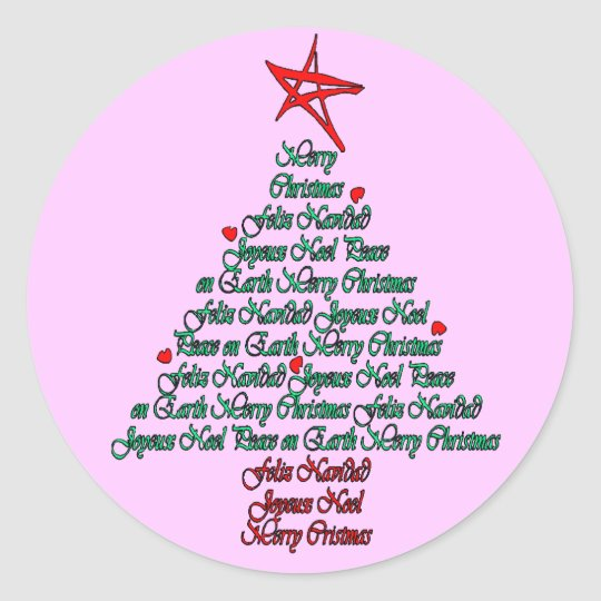Multiple language christmas tree with star classic round sticker