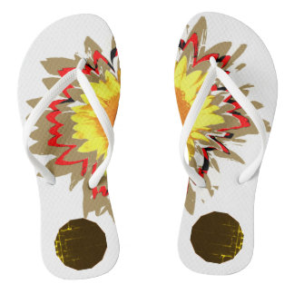 Multiple Layered Colors of Sunflower Floral Flip Flops