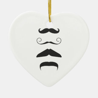 Multiple Moustache Ceramic Heart Decoration