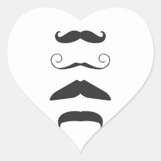 Multiple Moustache Heart Sticker