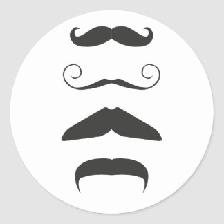Multiple Moustache Round Sticker