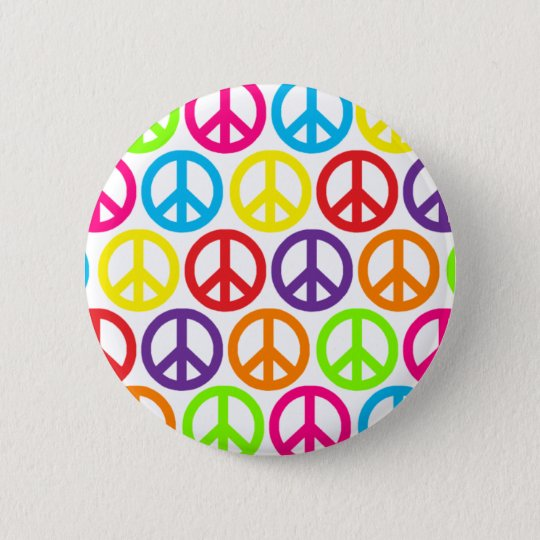 Multiple Multicolor Peace Signs 6 Cm Round Badge