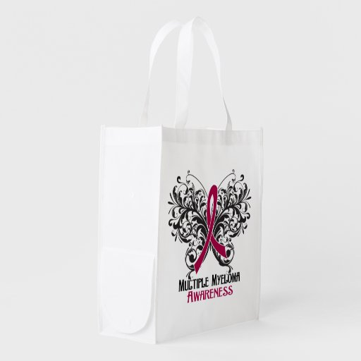 Multiple Myeloma Awareness Butterfly Grocery Bag