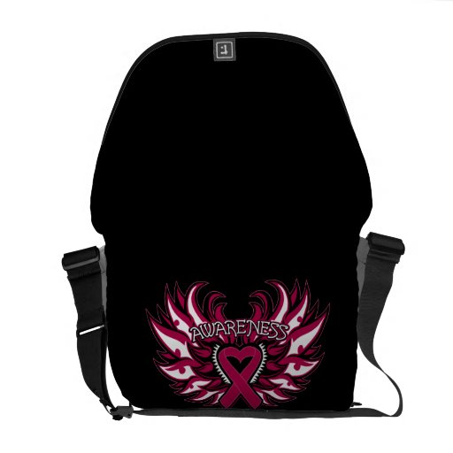 Multiple Myeloma Awareness Heart Wings Courier Bags