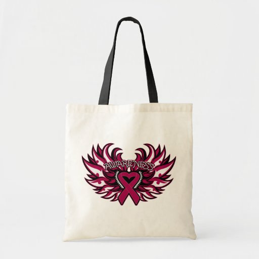 Multiple Myeloma Awareness Heart Wings.png Canvas Bags